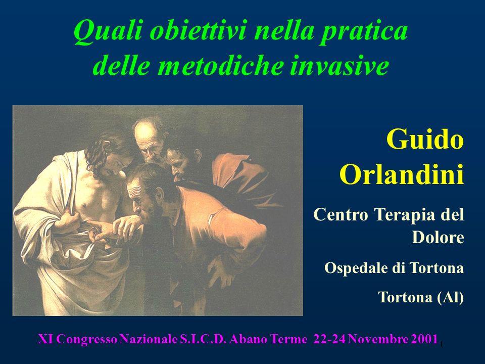 1 Guido Orlandini Centro Terapia del Dolore Ospedale di Tortona Tortona (Al) Quali obiettivi nella pratica delle metodiche invasive XI Congresso Nazio