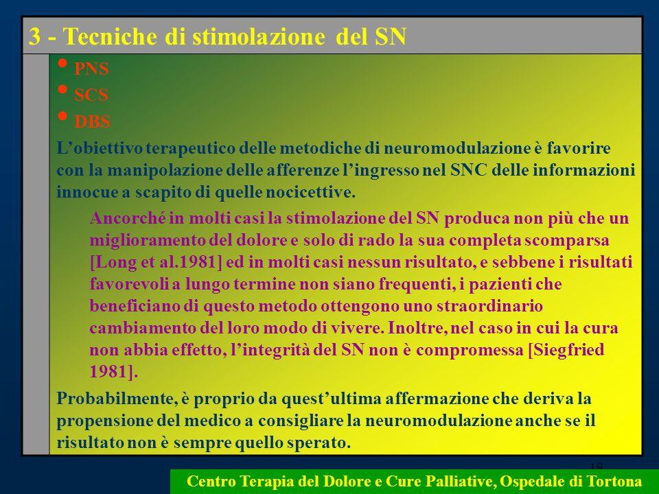 19 Centro Terapia del Dolore e Cure Palliative, Ospedale di Tortona 3 - Tecniche di stimolazione del SN PNS SCS DBS Lobiettivo terapeutico delle metod
