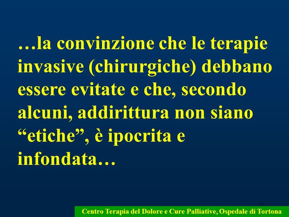 22 Centro Terapia del Dolore e Cure Palliative, Ospedale di Tortona …la convinzione che le terapie invasive (chirurgiche) debbano essere evitate e che
