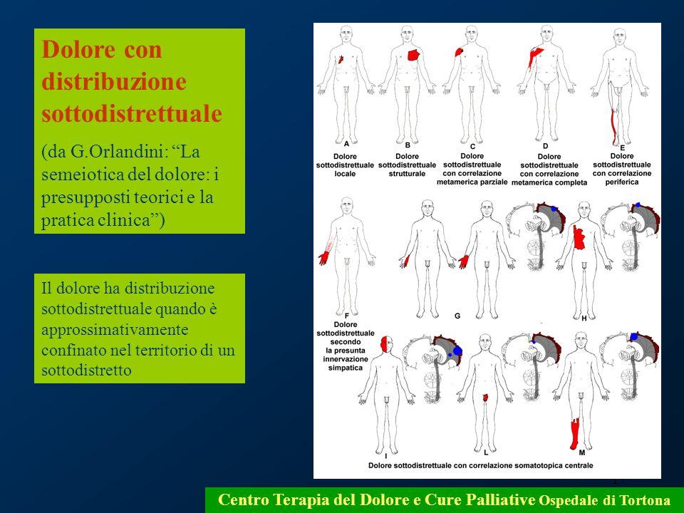 17 Centro Terapia del Dolore e Cure Palliative Ospedale di Tortona Dolore con distribuzione sottodistrettuale (da G.Orlandini: La semeiotica del dolor