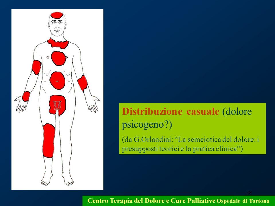 28 Centro Terapia del Dolore e Cure Palliative Ospedale di Tortona Distribuzione casuale (dolore psicogeno?) (da G.Orlandini: La semeiotica del dolore