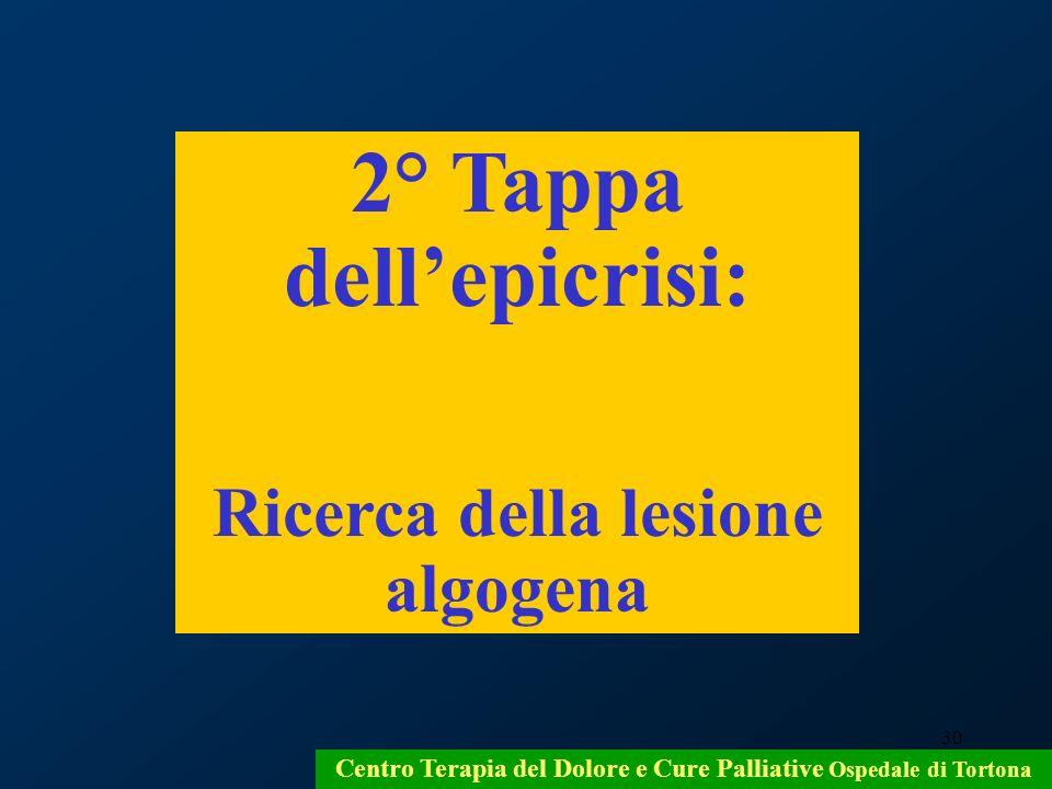 30 Centro Terapia del Dolore e Cure Palliative Ospedale di Tortona 2° Tappa dellepicrisi: Ricerca della lesione algogena