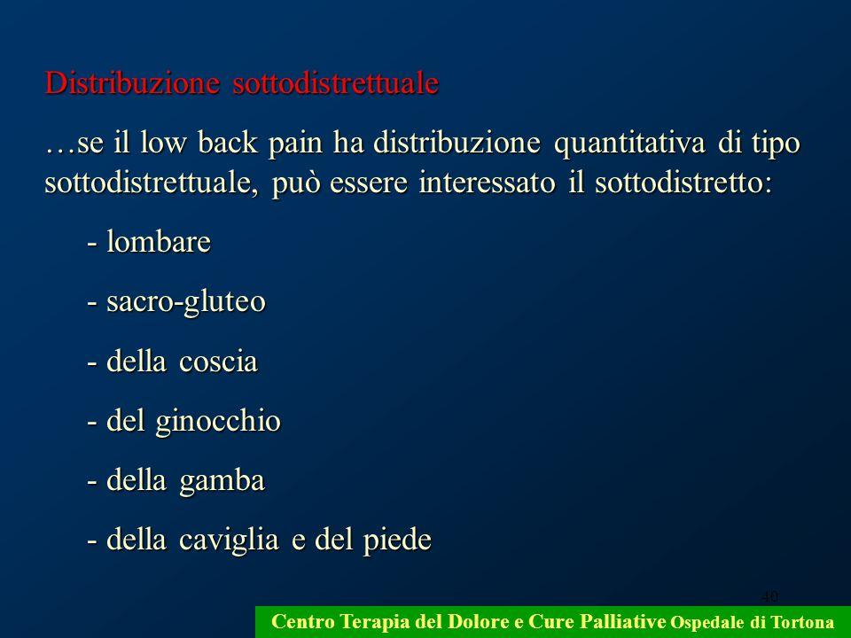 40 Centro Terapia del Dolore e Cure Palliative Ospedale di Tortona Distribuzione sottodistrettuale …se il low back pain ha distribuzione quantitativa