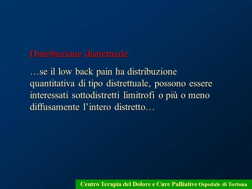 41 Centro Terapia del Dolore e Cure Palliative Ospedale di Tortona Distribuzione distrettuale …se il low back pain ha distribuzione quantitativa di ti