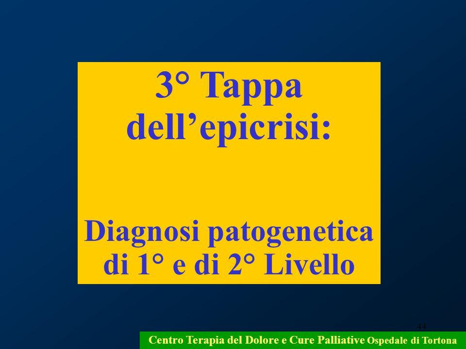 44 Centro Terapia del Dolore e Cure Palliative Ospedale di Tortona 3° Tappa dellepicrisi: Diagnosi patogenetica di 1° e di 2° Livello
