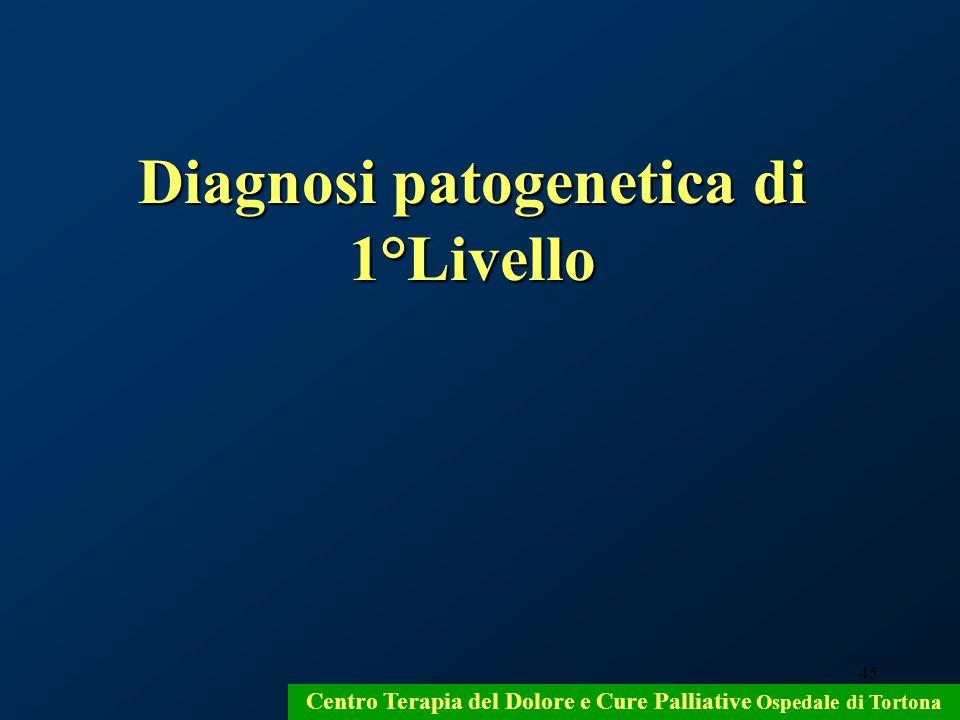 45 Centro Terapia del Dolore e Cure Palliative Ospedale di Tortona Diagnosi patogenetica di 1°Livello