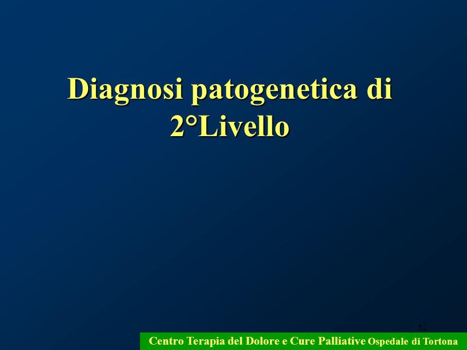 52 Centro Terapia del Dolore e Cure Palliative Ospedale di Tortona Diagnosi patogenetica di 2°Livello