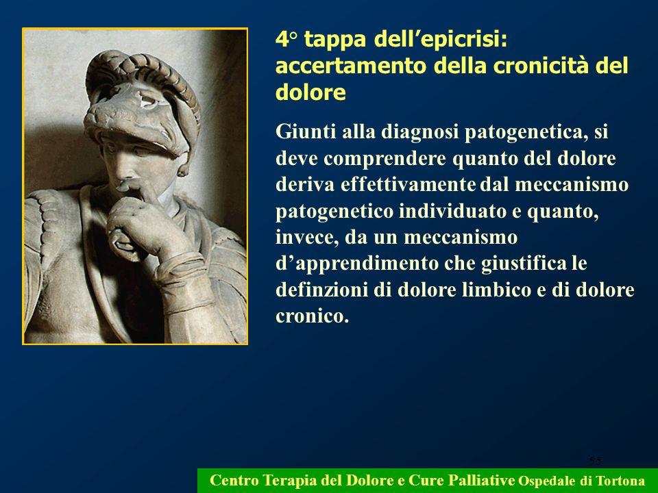55 Centro Terapia del Dolore e Cure Palliative Ospedale di Tortona 4° tappa dellepicrisi: accertamento della cronicità del dolore Giunti alla diagnosi