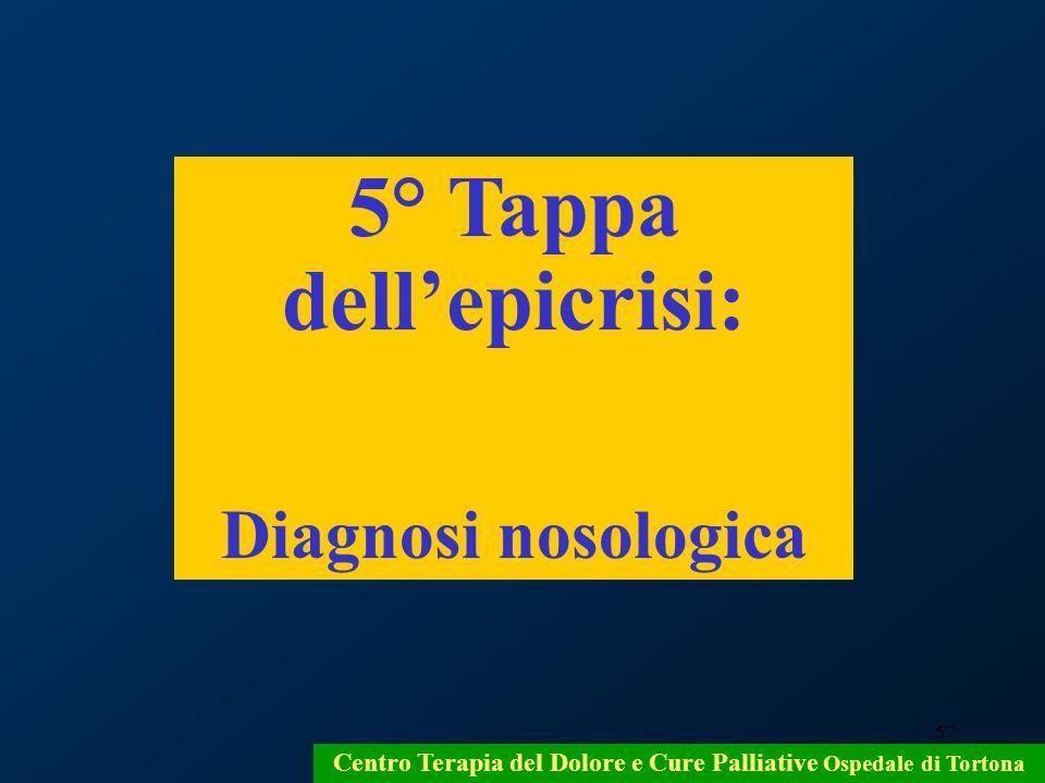 57 Centro Terapia del Dolore e Cure Palliative Ospedale di Tortona 5° Tappa dellepicrisi: Diagnosi nosologica