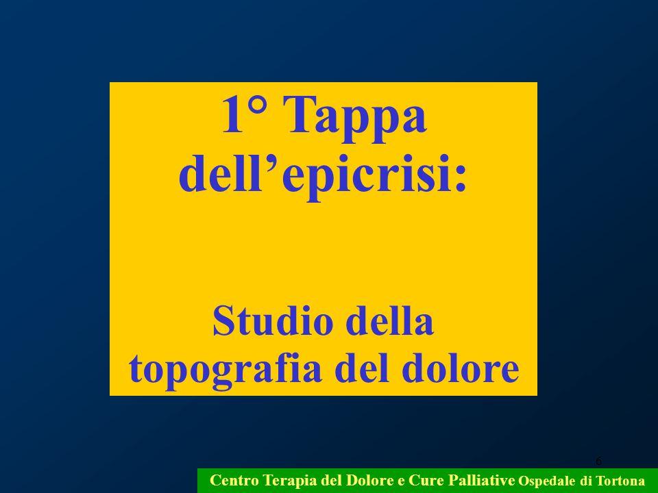 6 Centro Terapia del Dolore e Cure Palliative Ospedale di Tortona 1° Tappa dellepicrisi: Studio della topografia del dolore