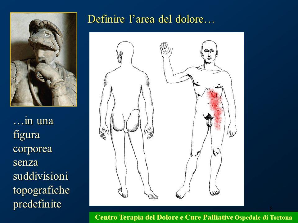 8 Centro Terapia del Dolore e Cure Palliative Ospedale di Tortona Definire larea del dolore… …in una figura corporea senza suddivisioni topografiche p