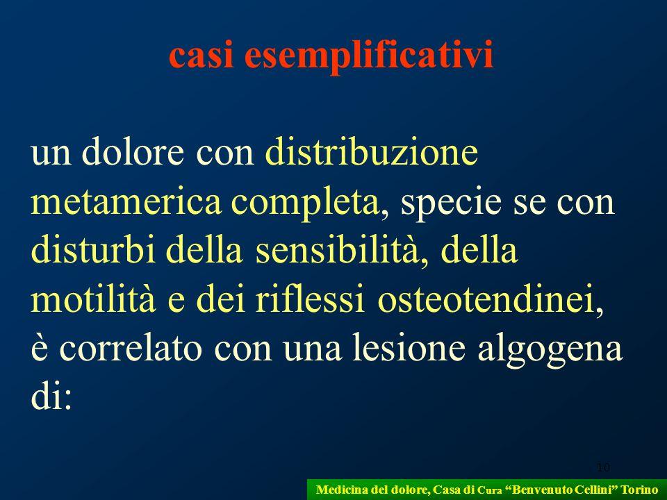 10 Medicina del dolore, Casa di Cura Benvenuto Cellini Torino casi esemplificativi un dolore con distribuzione metamerica completa, specie se con dist