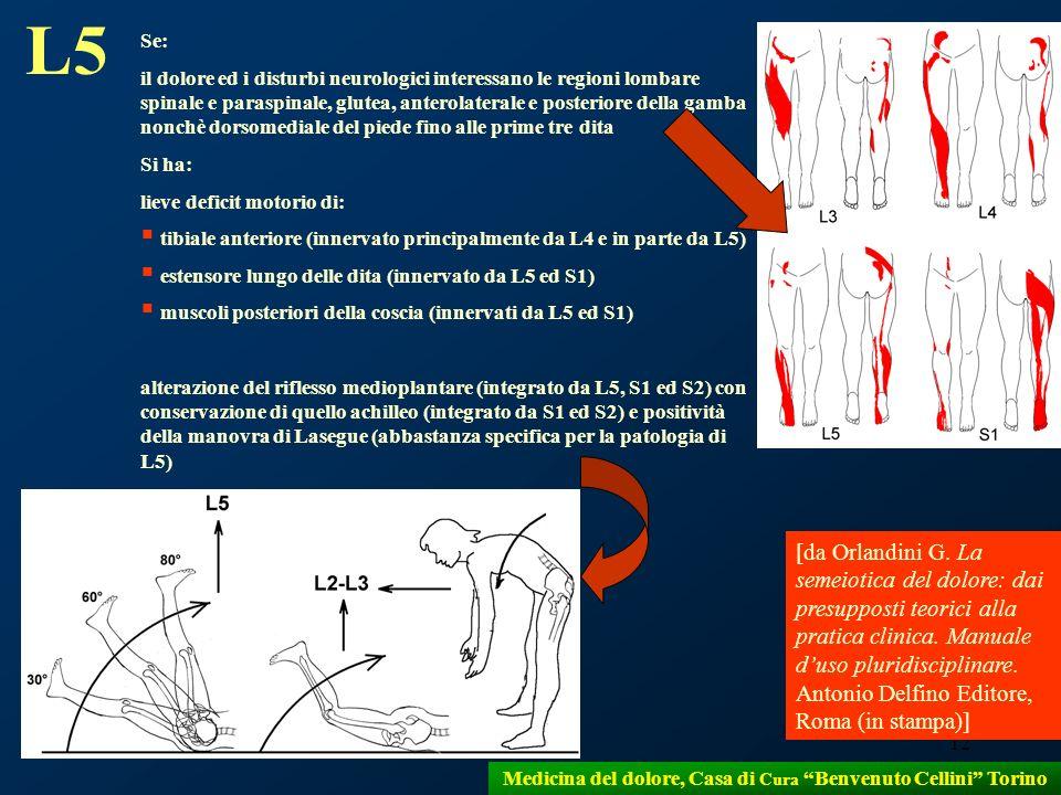 12 Medicina del dolore, Casa di Cura Benvenuto Cellini Torino L5 Se: il dolore ed i disturbi neurologici interessano le regioni lombare spinale e para