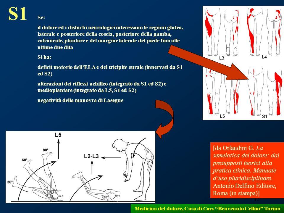 13 Medicina del dolore, Casa di Cura Benvenuto Cellini Torino S1 Se: il dolore ed i disturbi neurologici interessano le regioni glutea, laterale e pos