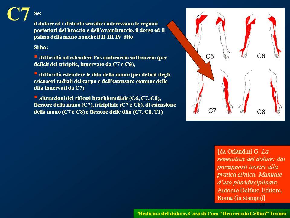 15 Medicina del dolore, Casa di Cura Benvenuto Cellini Torino Se: il dolore ed i disturbi sensitivi interessano le regioni posteriori del braccio e de