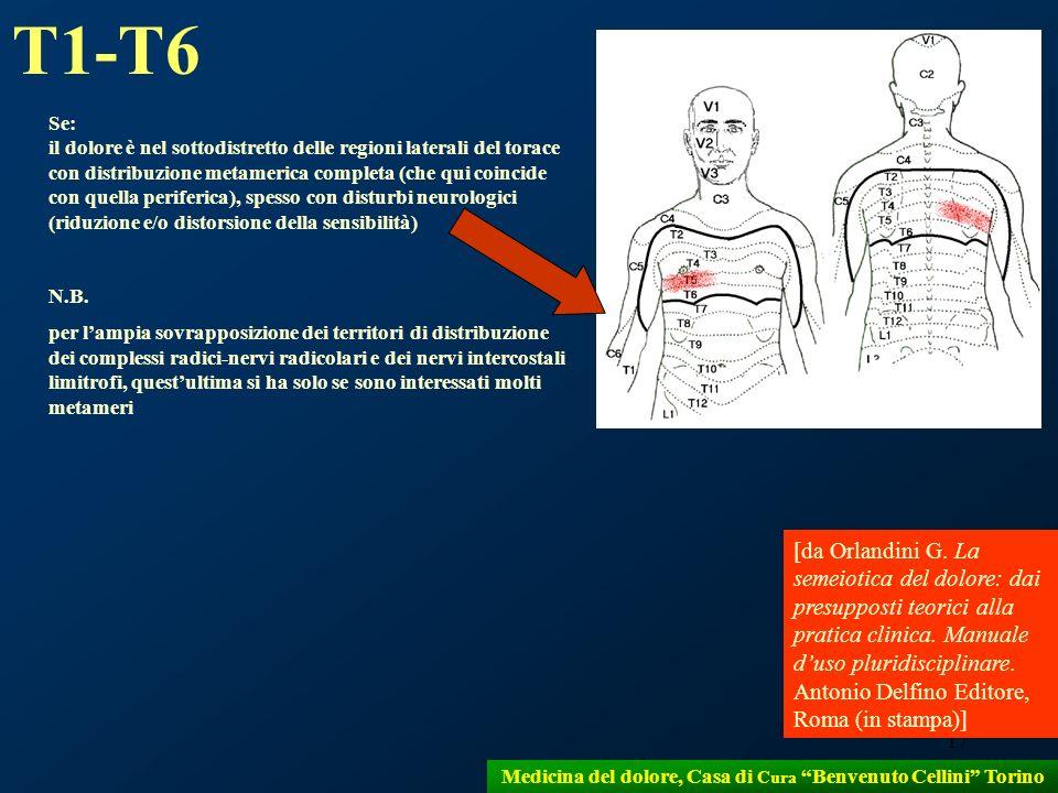 17 Medicina del dolore, Casa di Cura Benvenuto Cellini Torino Se: il dolore è nel sottodistretto delle regioni laterali del torace con distribuzione m