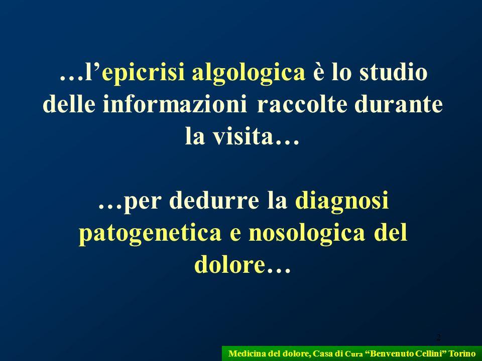 2 Medicina del dolore, Casa di Cura Benvenuto Cellini Torino …lepicrisi algologica è lo studio delle informazioni raccolte durante la visita… …per ded