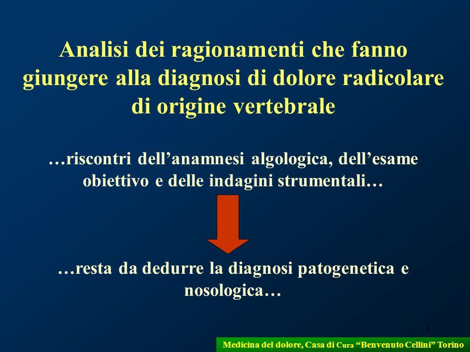 5 Medicina del dolore, Casa di Cura Benvenuto Cellini Torino Analisi dei ragionamenti che fanno giungere alla diagnosi di dolore radicolare di origine