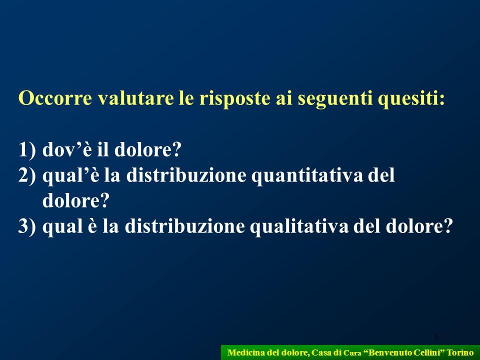 6 Medicina del dolore, Casa di Cura Benvenuto Cellini Torino Occorre valutare le risposte ai seguenti quesiti: 1)dovè il dolore? 2)qualè la distribuzi