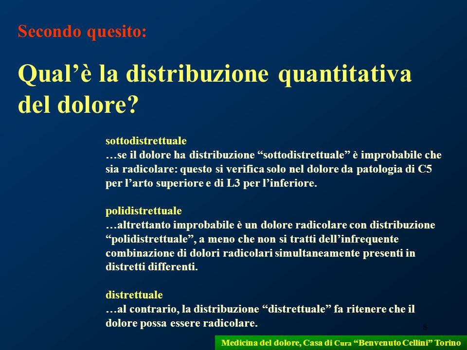9 Medicina del dolore, Casa di Cura Benvenuto Cellini Torino Terzo quesito: Qualè la distribuzione qualitativa del dolore.