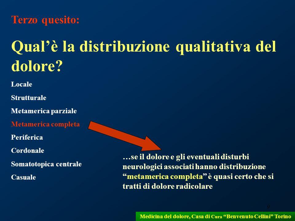 9 Medicina del dolore, Casa di Cura Benvenuto Cellini Torino Terzo quesito: Qualè la distribuzione qualitativa del dolore? Locale Strutturale Metameri