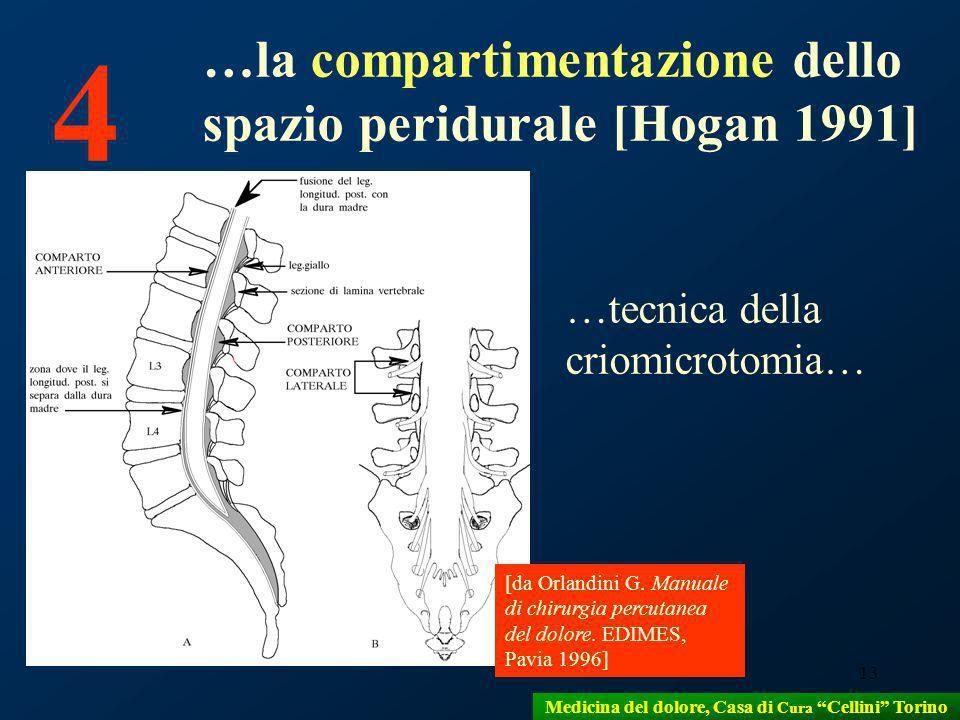 13 [da Orlandini G. Manuale di chirurgia percutanea del dolore. EDIMES, Pavia 1996] 4 …la compartimentazione dello spazio peridurale [Hogan 1991] …tec