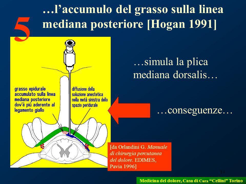 14 …simula la plica mediana dorsalis… [da Orlandini G. Manuale di chirurgia percutanea del dolore. EDIMES, Pavia 1996] 5 …laccumulo del grasso sulla l