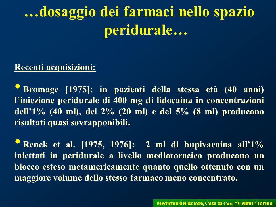 23 Recenti acquisizioni: Bromage [1975]: in pazienti della stessa età (40 anni) liniezione peridurale di 400 mg di lidocaina in concentrazioni dell1%
