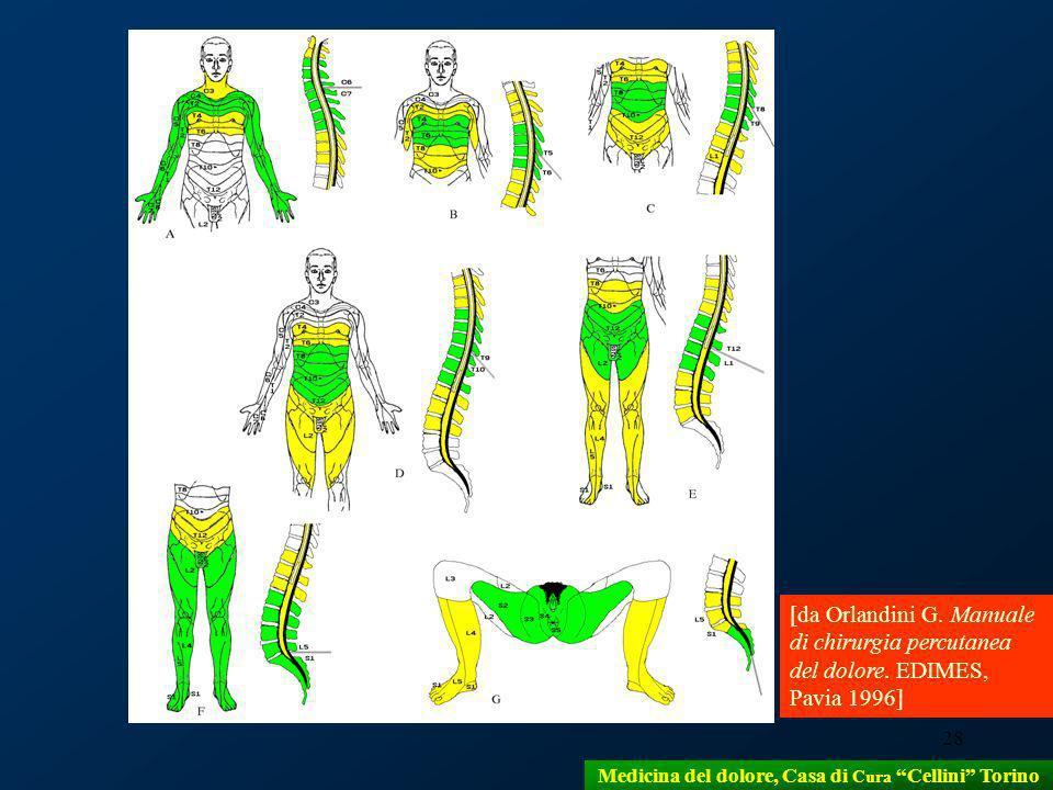 28 [da Orlandini G. Manuale di chirurgia percutanea del dolore. EDIMES, Pavia 1996] Medicina del dolore, Casa di Cura Cellini Torino