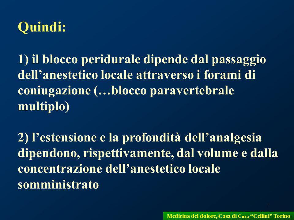 7 Quindi: 1) il blocco peridurale dipende dal passaggio dellanestetico locale attraverso i forami di coniugazione (…blocco paravertebrale multiplo) 2)
