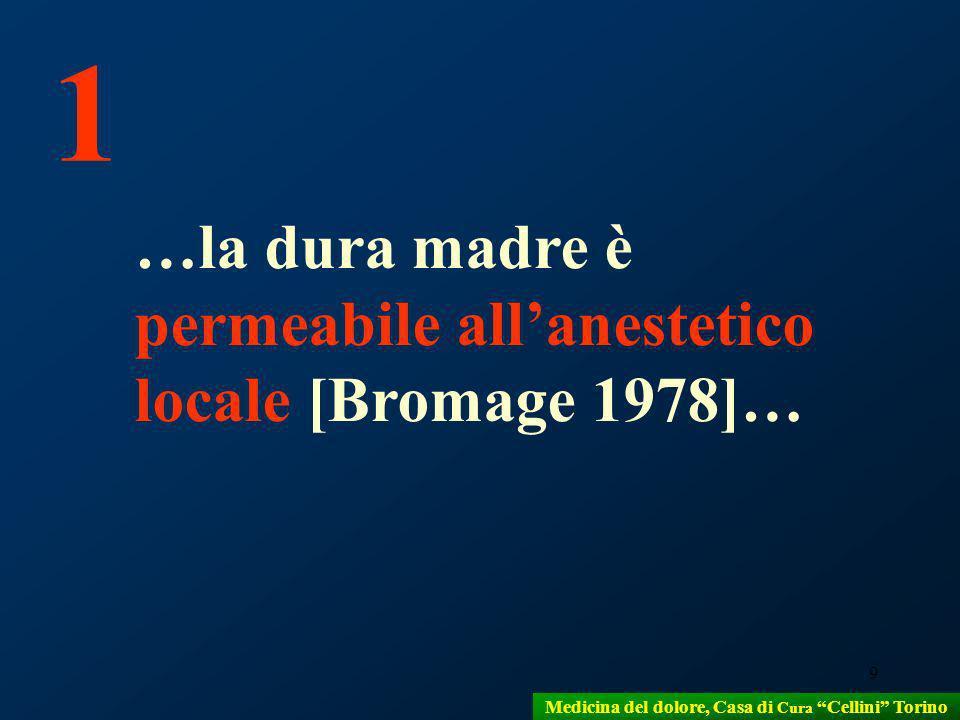 9 …la dura madre è permeabile allanestetico locale [Bromage 1978]… 1 Medicina del dolore, Casa di Cura Cellini Torino