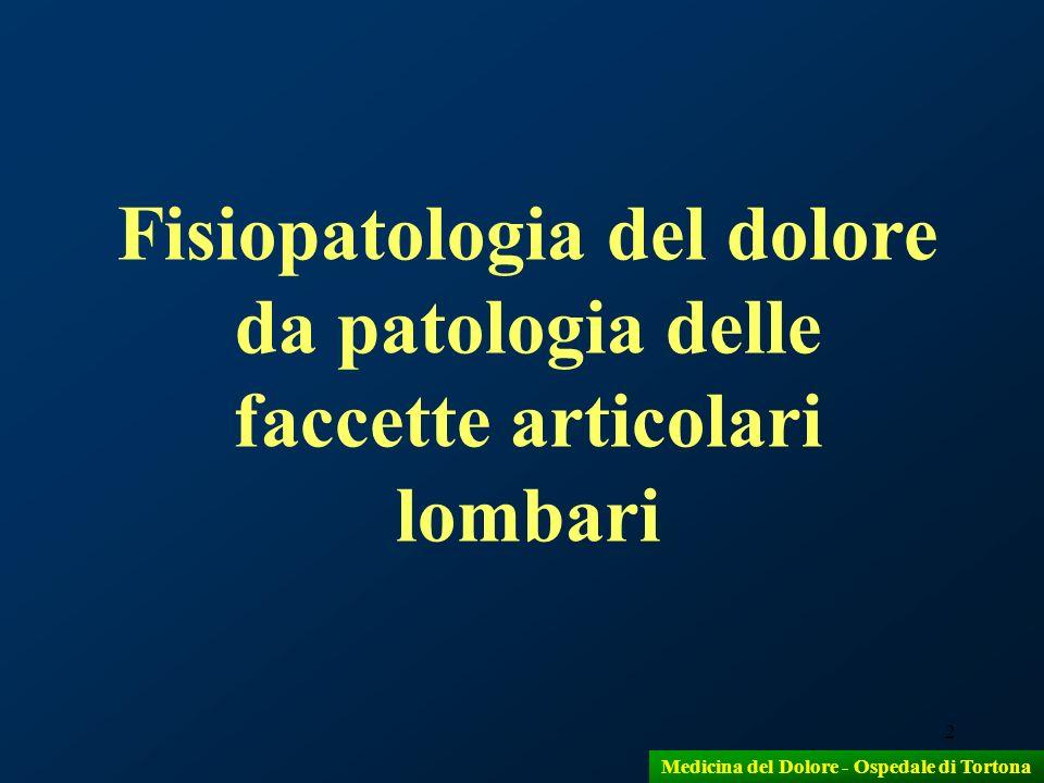 2 Fisiopatologia del dolore da patologia delle faccette articolari lombari Medicina del Dolore - Ospedale di Tortona