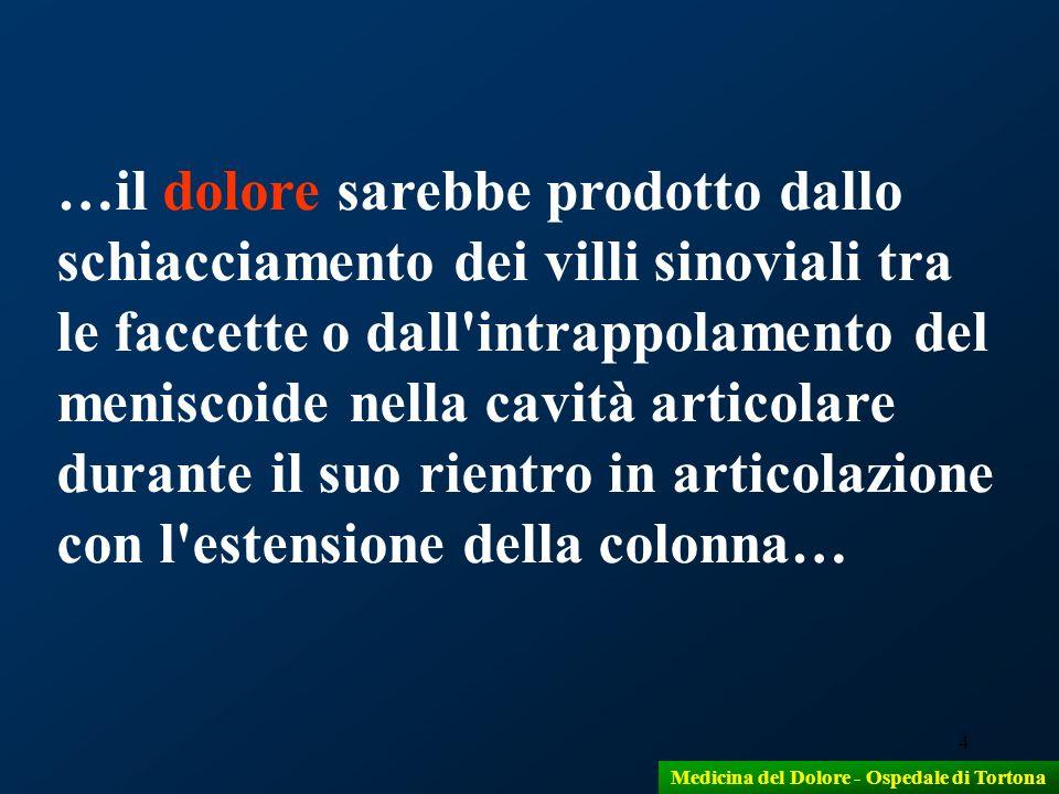 4 …il dolore sarebbe prodotto dallo schiacciamento dei villi sinoviali tra le faccette o dall'intrappolamento del meniscoide nella cavità articolare d