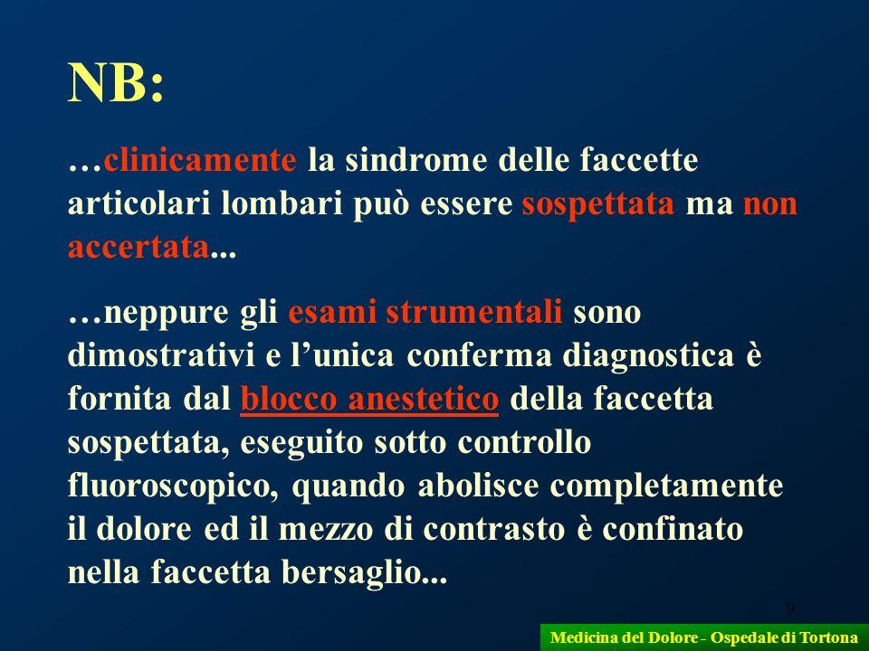 9 NB: …clinicamente la sindrome delle faccette articolari lombari può essere sospettata ma non accertata... …neppure gli esami strumentali sono dimost