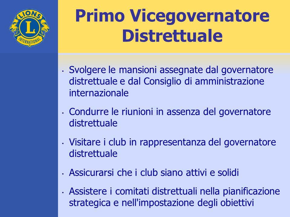 Primo Vicegovernatore Distrettuale Svolgere le mansioni assegnate dal governatore distrettuale e dal Consiglio di amministrazione internazionale Condu