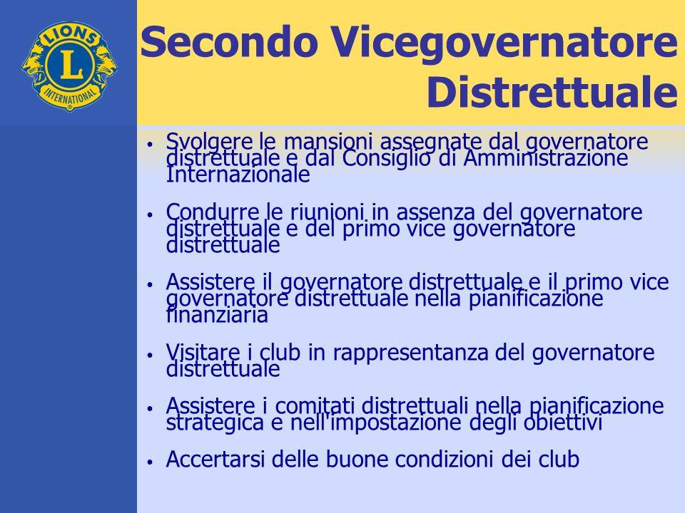 Secondo Vicegovernatore Distrettuale Svolgere le mansioni assegnate dal governatore distrettuale e dal Consiglio di Amministrazione Internazionale Con