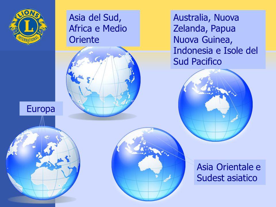 Asia del Sud, Africa e Medio Oriente Australia, Nuova Zelanda, Papua Nuova Guinea, Indonesia e Isole del Sud Pacifico Asia Orientale e Sudest asiatico