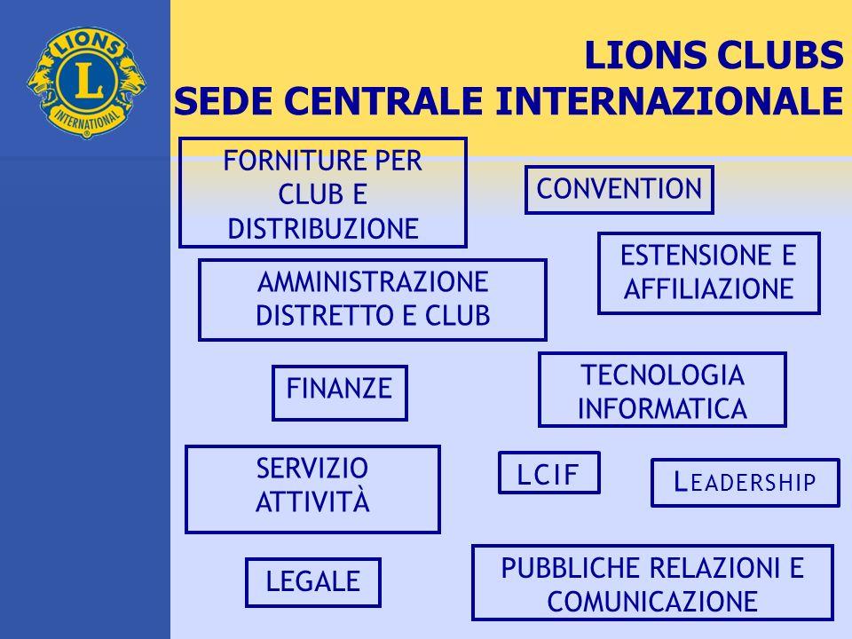 LIONS CLUBS SEDE CENTRALE INTERNAZIONALE FORNITURE PER CLUB E DISTRIBUZIONE CONVENTION AMMINISTRAZIONE DISTRETTO E CLUB ESTENSIONE E AFFILIAZIONE TECN