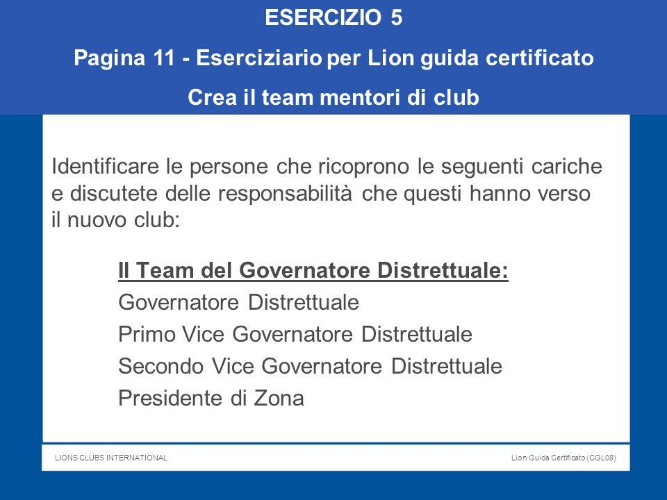 LIONS CLUBS INTERNATIONALLion Guida Certificato (CGL08) Identificare le persone che ricoprono le seguenti cariche e discutete delle responsabilità che