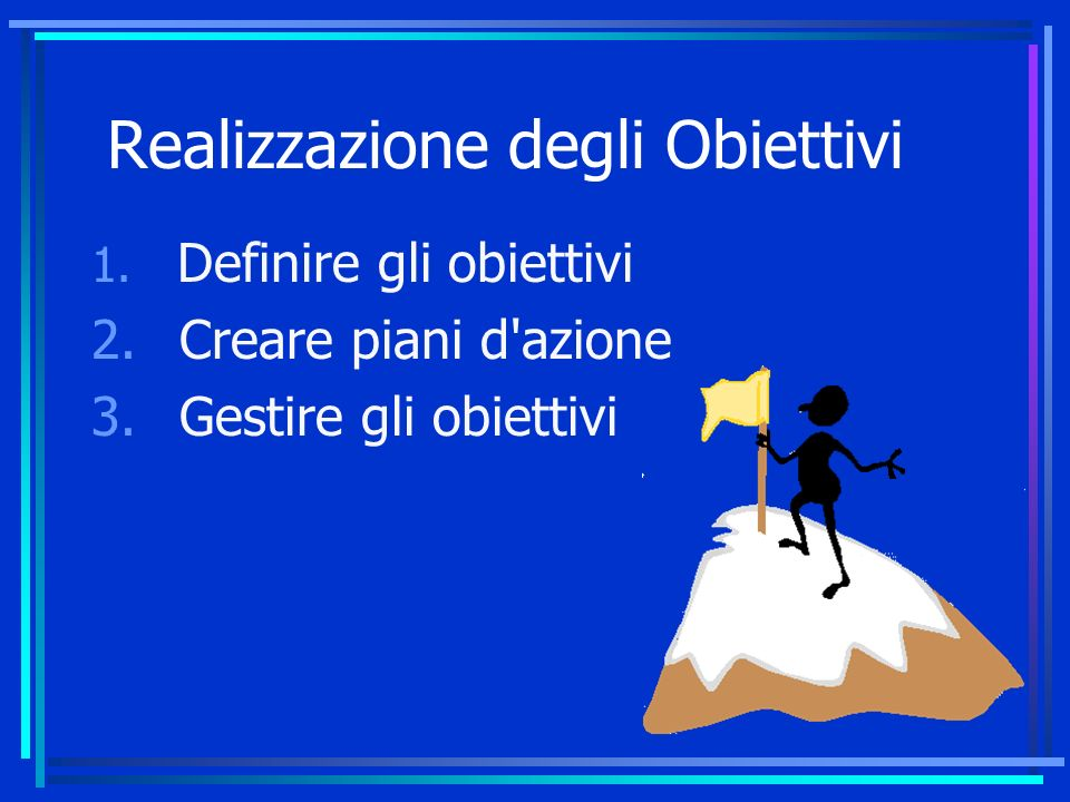 Realizzazione degli Obiettivi 1.Definire gli obiettivi 2.