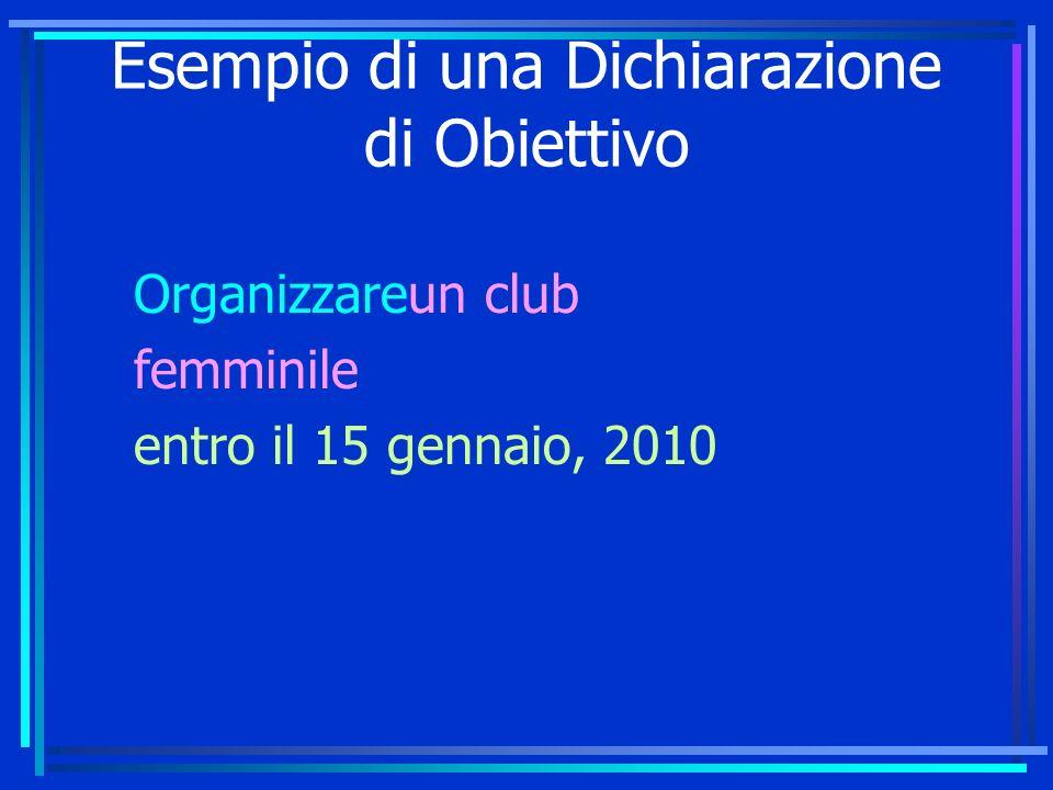 Esempio di una Dichiarazione di Obiettivo Organizzareun club femminile entro il 15 gennaio, 2010