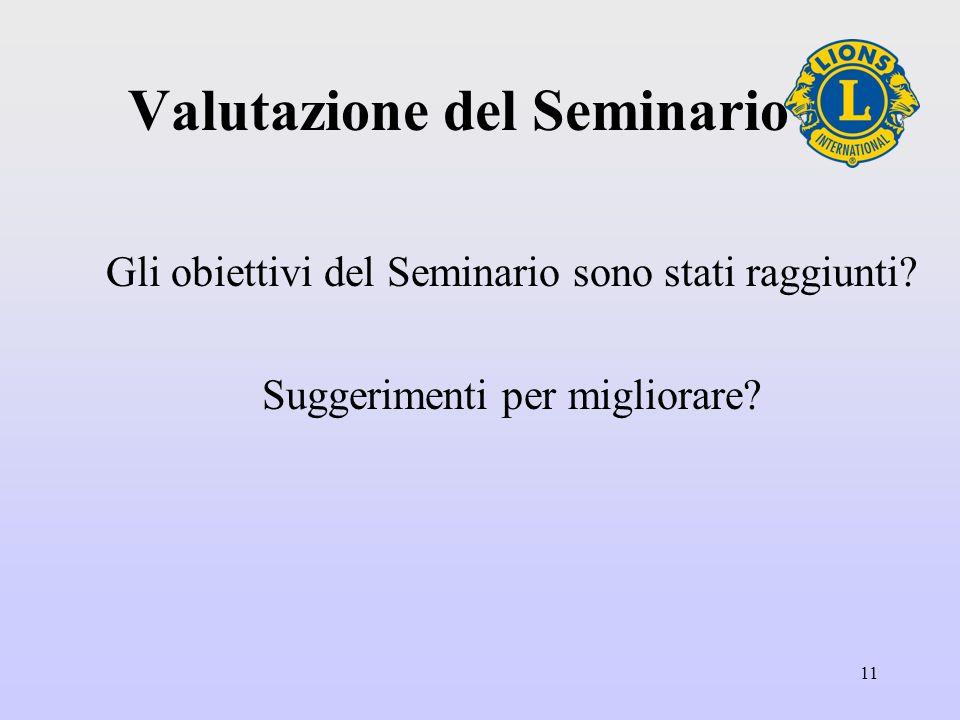 11 Valutazione del Seminario Gli obiettivi del Seminario sono stati raggiunti.