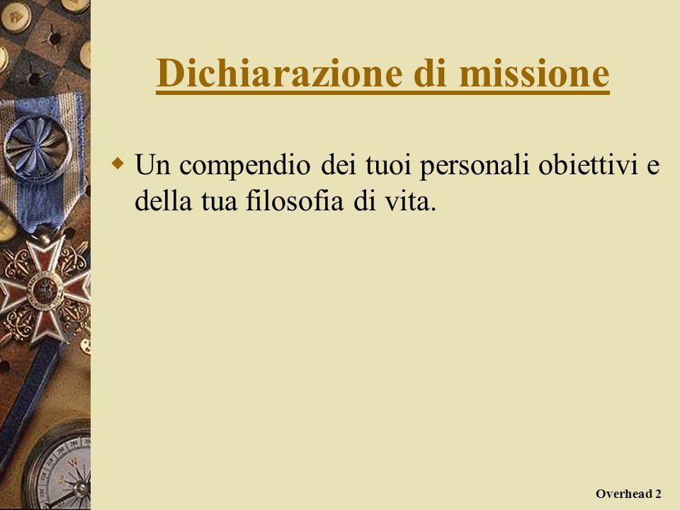 Overhead 3 Dichiarazione di missione Un resoconto dei principi e delle certezze su cui si fonda la tua vita, dei tuoi valori e dei tuoi credo, di ciò che reputi dare senso alla tua esistenza.