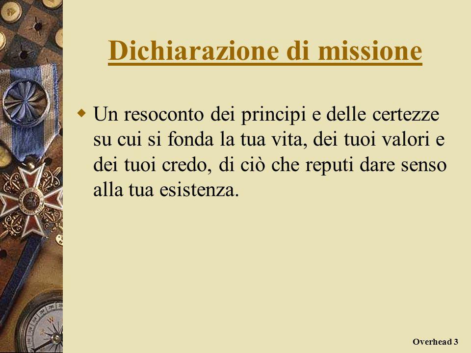 Overhead 3 Dichiarazione di missione Un resoconto dei principi e delle certezze su cui si fonda la tua vita, dei tuoi valori e dei tuoi credo, di ciò