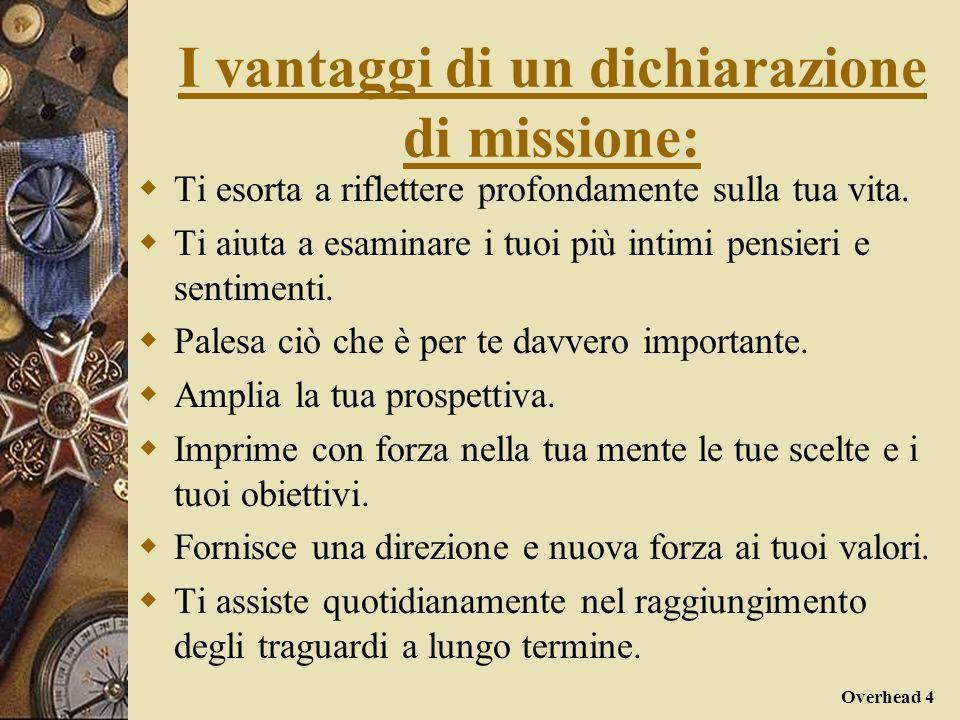 Overhead 4 I vantaggi di un dichiarazione di missione: Ti esorta a riflettere profondamente sulla tua vita. Ti aiuta a esaminare i tuoi più intimi pen