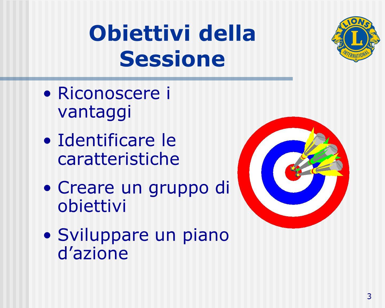 3 Obiettivi della Sessione Riconoscere i vantaggi Identificare le caratteristiche Creare un gruppo di obiettivi Sviluppare un piano dazione