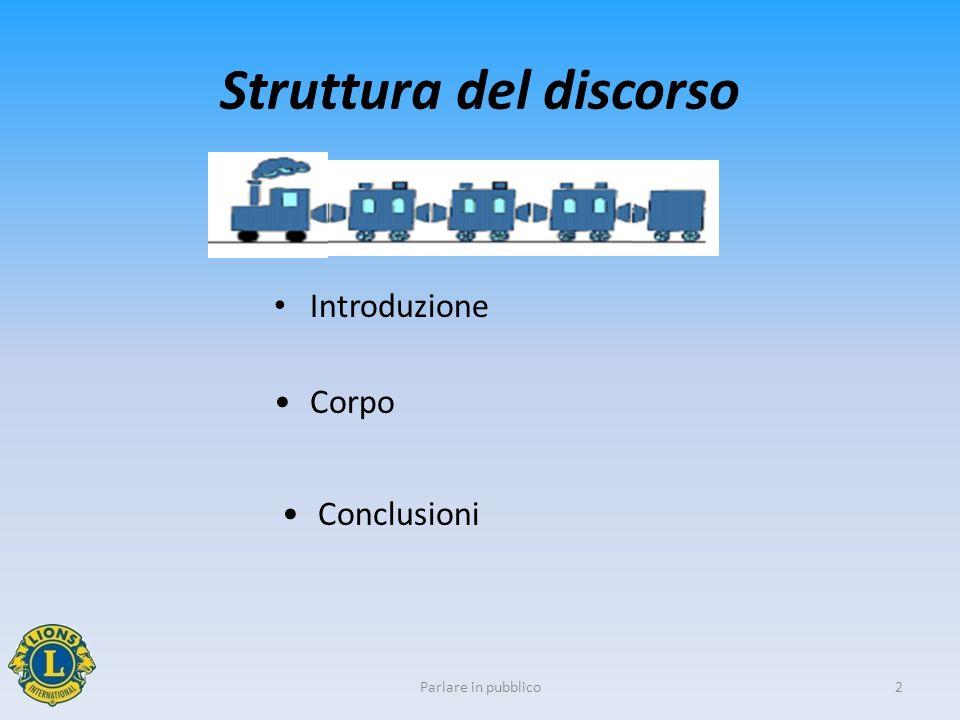 2 Struttura del discorso Parlare in pubblico Introduzione Corpo Conclusioni