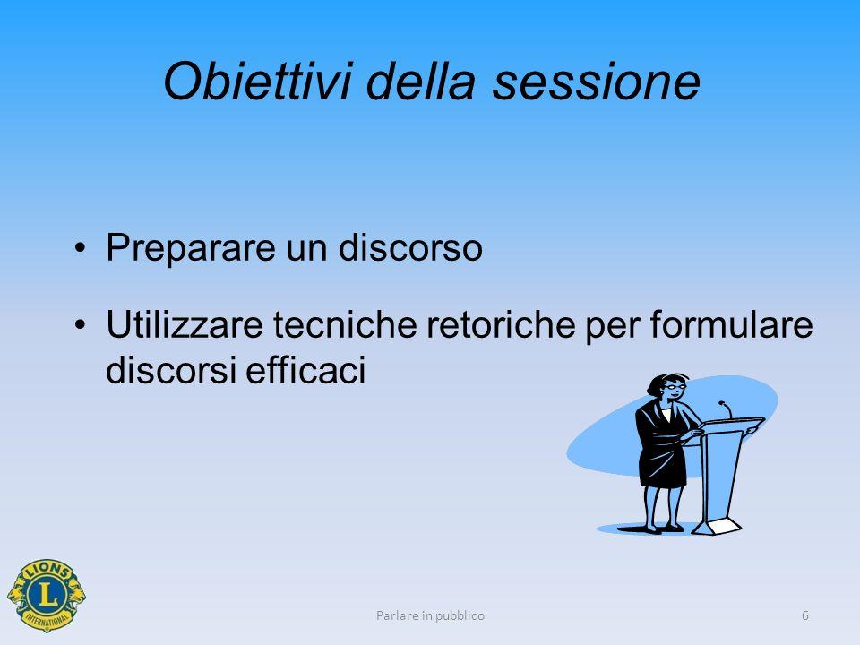 Obiettivi della sessione Preparare un discorso Utilizzare tecniche retoriche per formulare discorsi efficaci 6Parlare in pubblico