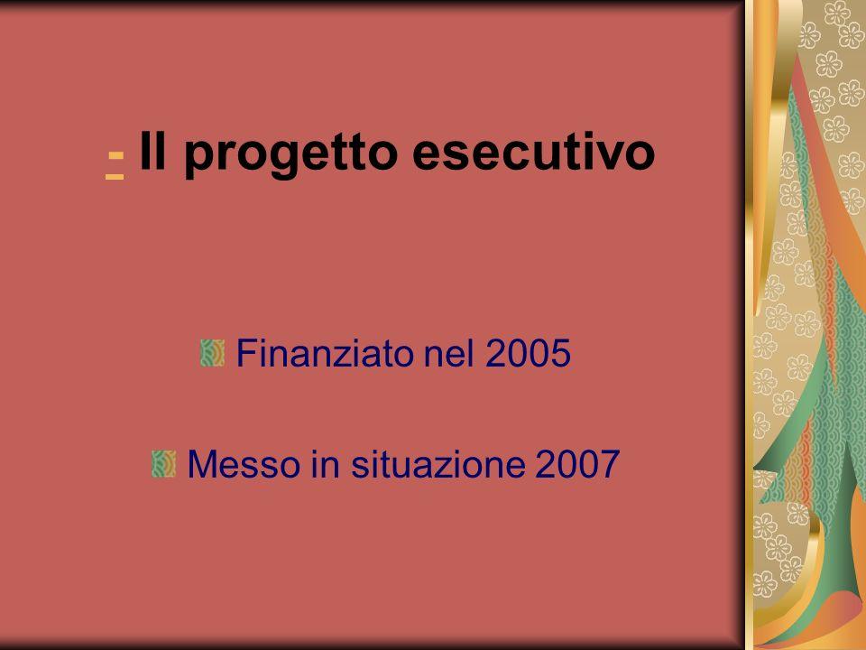 - Il progetto esecutivo Finanziato nel 2005 Messo in situazione 2007