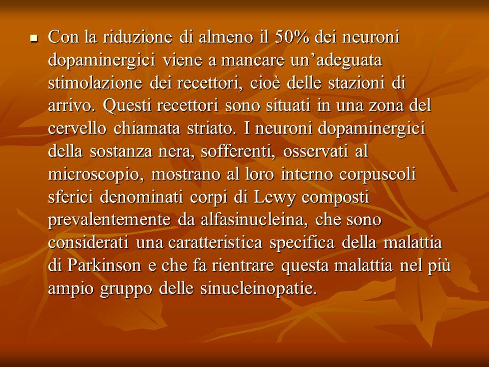 Con la riduzione di almeno il 50% dei neuroni dopaminergici viene a mancare unadeguata stimolazione dei recettori, cioè delle stazioni di arrivo. Ques
